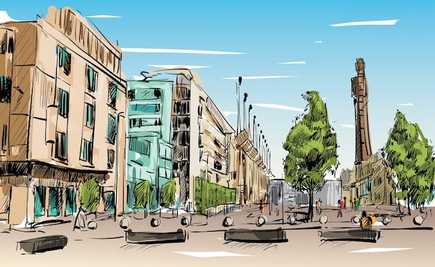 Эскиз городского пейзажа в дублине показывает общественное пространство и здание в центре города