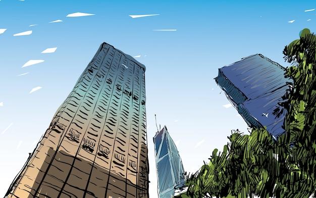 香港の街並みのスケッチは町並みと建物のイラストを表示