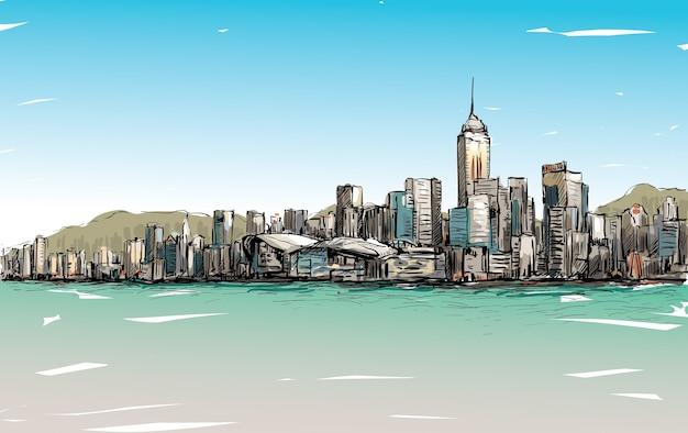 Эскиз городского пейзажа в гонконге показывает городской пейзаж и иллюстрацию здания