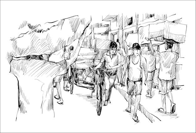 Эскиз городского пейзажа в индии показывает, что местные рабочие работают на улице с трехколесным велосипедом