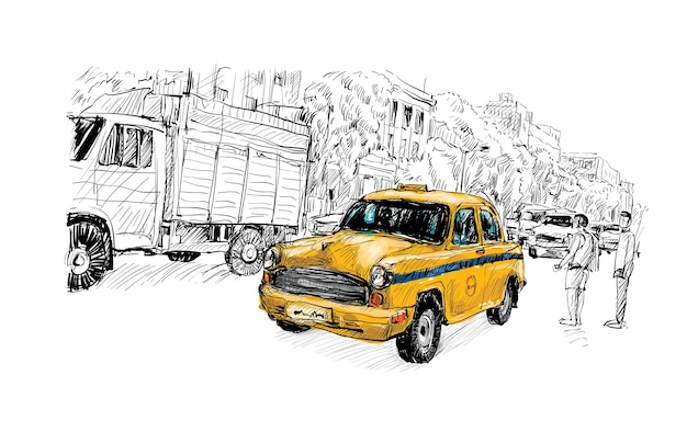 Эскиз городского пейзажа в индии показывает местное такси на улице, иллюстрация