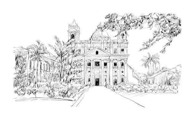 Эскиз городского пейзажа в калькутте, индия, показать церковь и сад иллюстрации