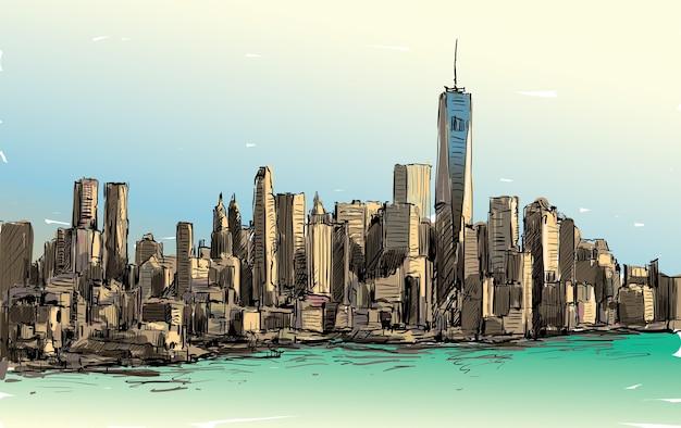 Эскиз городского пейзажа в нью-йорке показывает центр манхэттена с небоскребами, иллюстрация