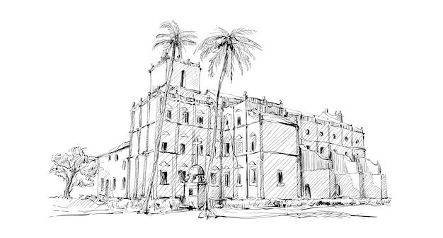 インドの街並みのスケッチは、コルカタの教会の古い建物を示しています