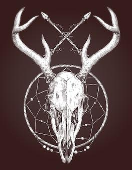 Эскиз черепа оленя, изолированные на темноте