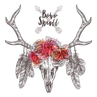 部族の矢で鹿の頭蓋骨のスケッチ