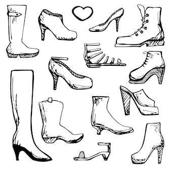다른 신발의 밑그림입니다. 스케치 스타일의 벡터 일러스트 레이 션.