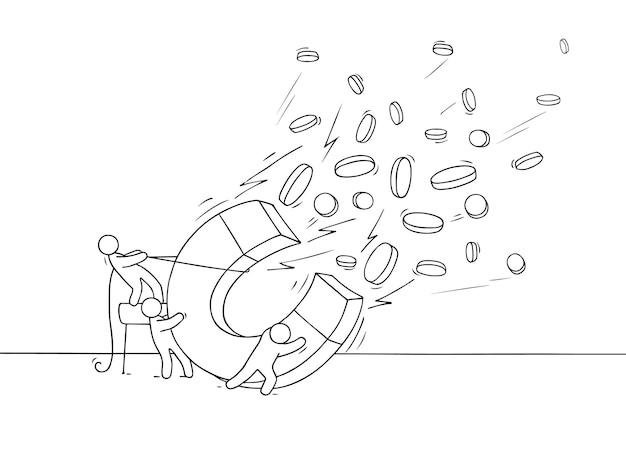 Эскиз финансовой концепции. рисованной иллюстрации шаржа с деньгами, монетами, золотом.