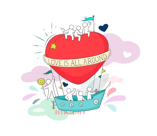 귀여운 작은 사람들과 비행 큰 마음의 스케치. 사랑에 대한 귀여운 미니어처 낭만적인 장면을 낙서하세요. 발렌타인 데이 디자인을 위한 손으로 그린 만화 벡터 일러스트 레이 션.