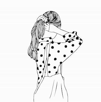 分離した長い髪の少女の頭のスケッチ