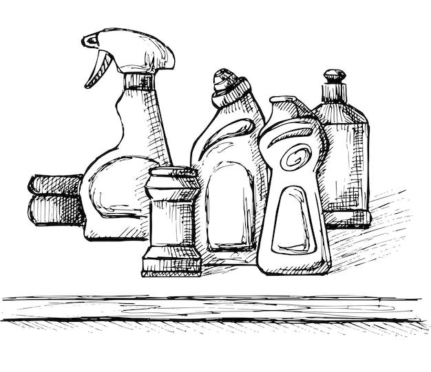 家庭用化学薬品のスケッチ。クリーナーアイテムのコレクション。ベクトルイラスト。