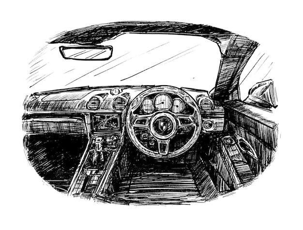 車の手描きの内側のスケッチ