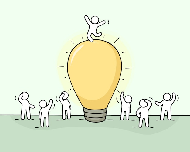 Эскиз идеи лампы с толпой маленьких людей.