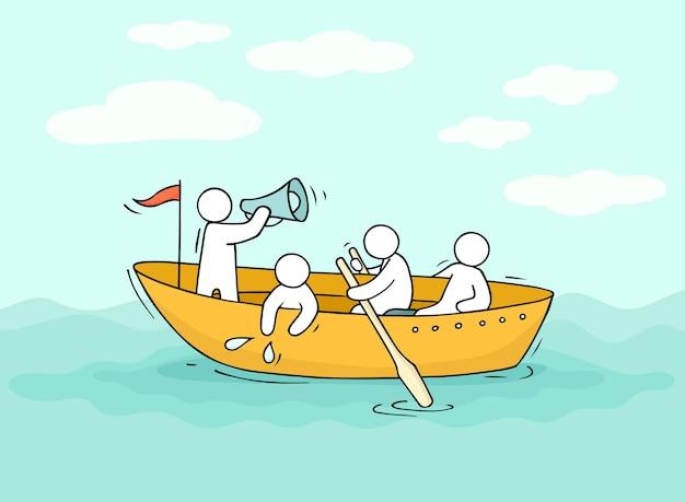 Эскиз человечков плывет на лодке.