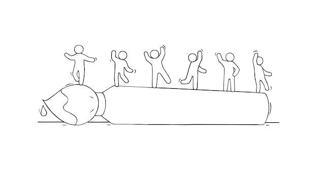 ブラシの上に立っている小さな人々のスケッチ。手描き漫画ベクトルイラスト。