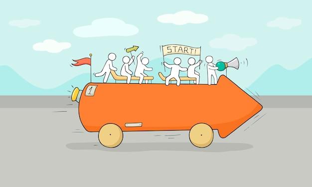 Эскиз маленьких людей с движущей стрелкой. рисованной иллюстрации шаржа