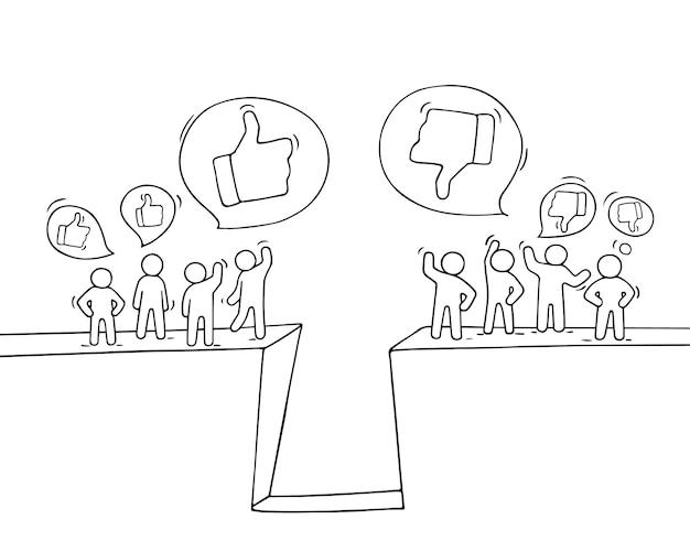 좋아하고 싫어하는 징후가있는 작은 사람들의 스케치. 노동자의 귀여운 미니어처 장면을 낙서. 비즈니스 및 웹 디자인을위한 손으로 그린 만화.