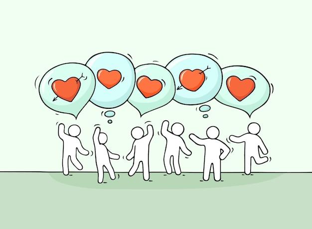 Эскиз маленьких людей с речевыми пузырями и сердцами