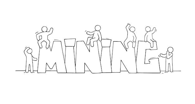 Mining doodle 귀여운 미니어처 장면 제작 암호 화폐라는 단어가 있는 작은 사람들의 스케치