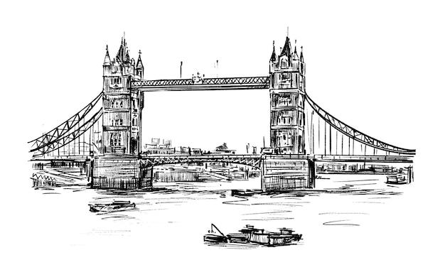 ロンドンのタワーブリッジの手描きのスケッチ