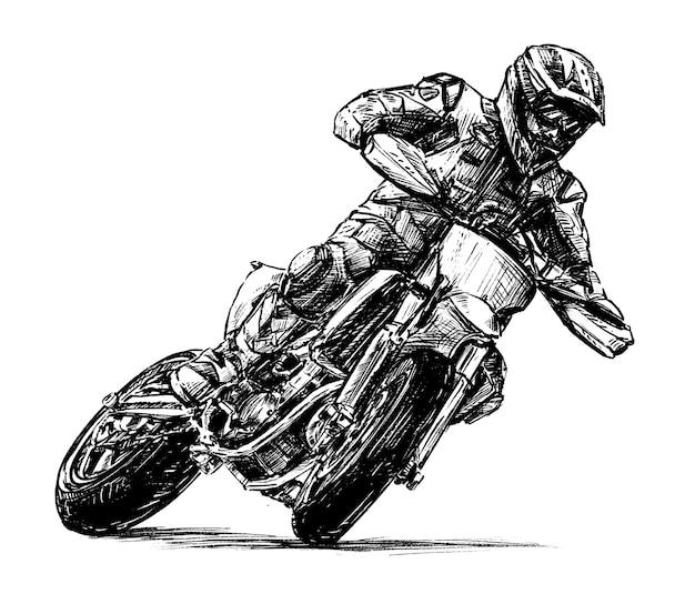 Эскиз рисования руки гонки на мотоциклах