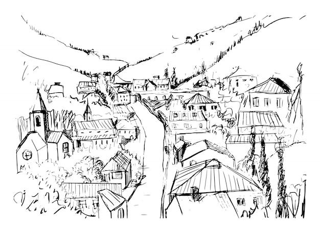 흑백 색상으로 그려진 그루지야 어 마을 손으로 산 풍경 스케치. 언덕 사이에 위치한 작은 도시의 건물과 거리가있는 아름다운 단색 그림. 삽화.