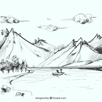 Sketch of mountainous landscape with lake