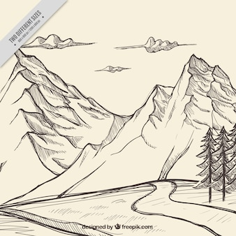 Sketch of mountains with a path background