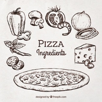 Sketch of pizza with ingredients