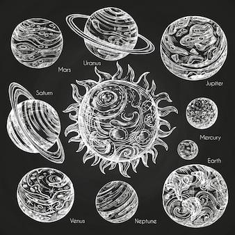 黒板に太陽系の惑星のスケッチ