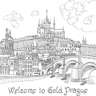 프라하 성과 찰스 다리가 있는 프라하 풍경 스케치