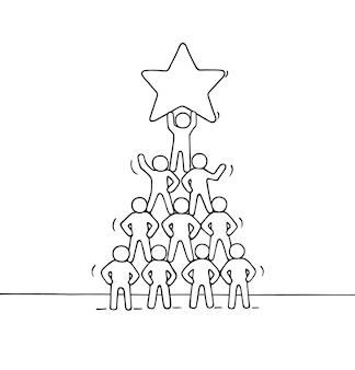 Эскиз пирамиды с рабочими человечками. нарисованная рукой иллюстрация шаржа