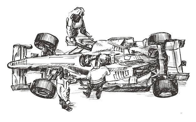 피트 스톱 손 그리기에서 작업하는 레이싱 팀의 스케치