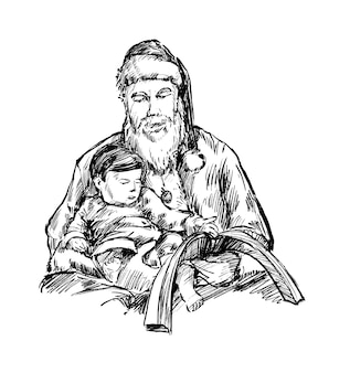 Эскиз санта читает книгу для рисования руки ребенка