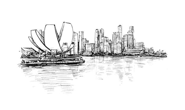 シンガポールのスカイラインの手描きのスケッチ