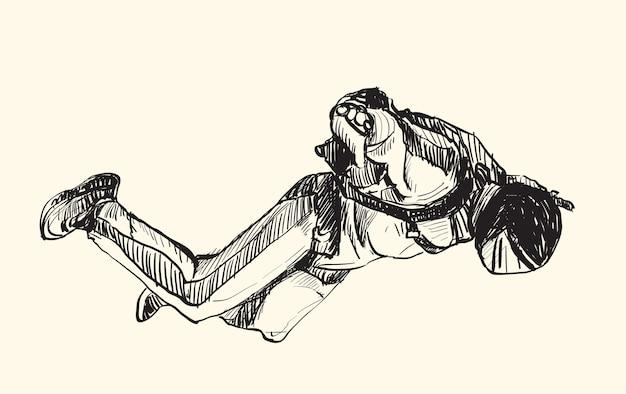 空中スカイダイビングのスケッチ、フリーハンド描画イラスト