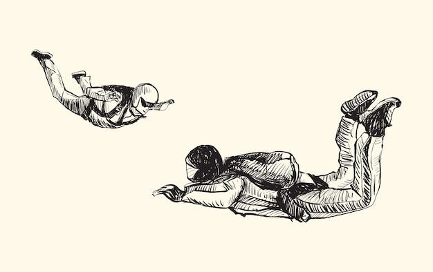 Эскиз прыжков с парашютом в воздухе, рисование от руки