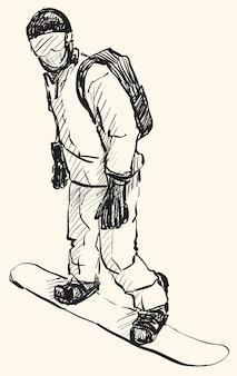 スノーボードの男の乗馬、ウィンタースポーツ、スノーボードコレクション、フリーハンド描画イラストのスケッチ