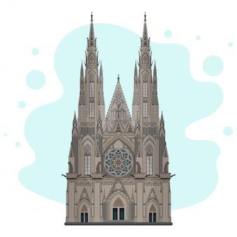 Эскиз собора святого вита. готический собор высокой детализации. достопримечательность праги, прага, чешская республика. хорошо подходит для дизайна открыток, буклетов, туристических баннеров и плакатов.