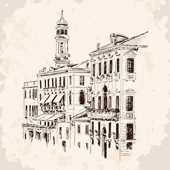 고층 건물과 타워가있는 오래된 유럽 도시의 거리를 스케치하십시오. 베이지 색 배경에 손수 거친 그림.