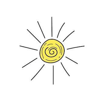 태양의 밑그림입니다. 벡터 일러스트 레이 션. 태양 낙서 아이콘입니다. 화이트에 간단한 손으로 그린 아이콘