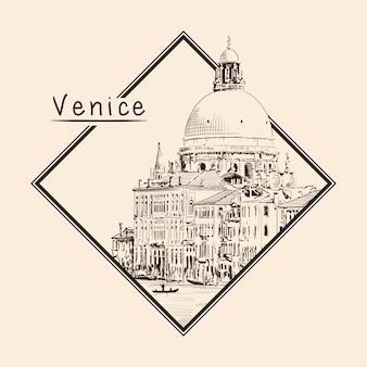 Эскиз собора святой марии в венеции, изолированные на бежевом фоне. эмблема в прямоугольной рамке и надпись.