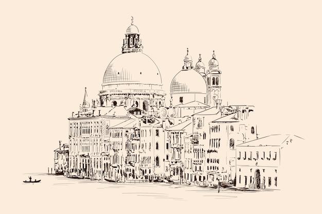 ベージュの背景に分離されたヴェネツィアの聖マリア大聖堂のスケッチ。
