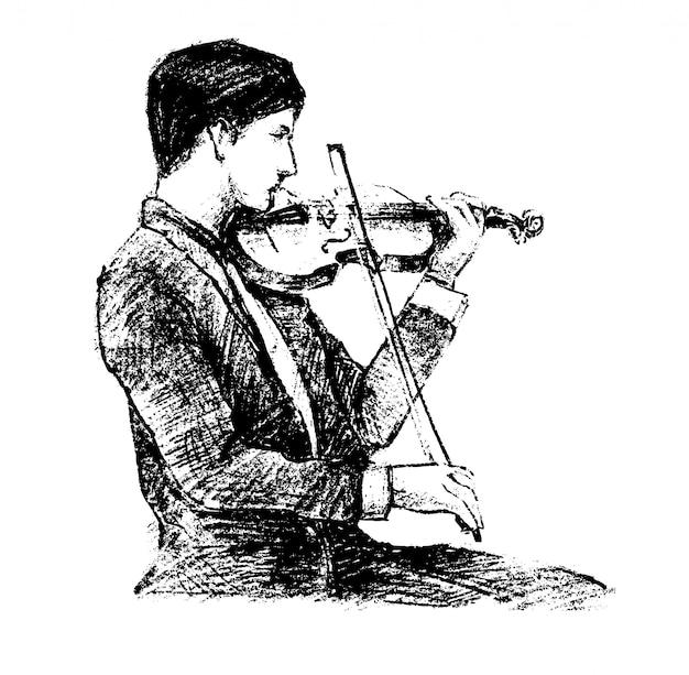 Эскиз классического музыканта играет на инструменте рука рисовать