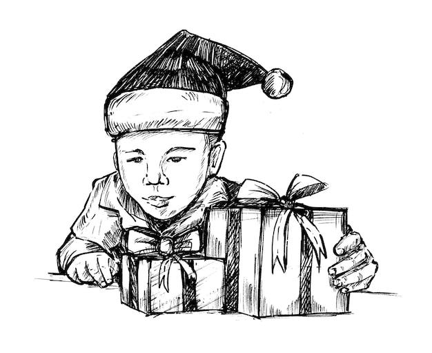 Эскиз ребенка с рождественской подарочной коробкой