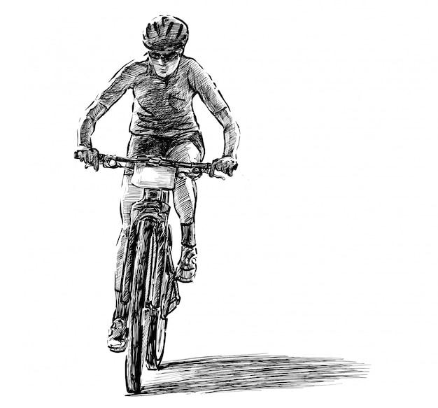 Эскиз рисования руки соревнований на горных велосипедах