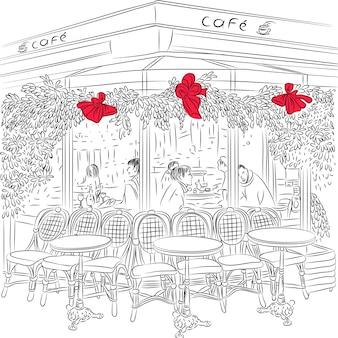 Эскиз парижского кафе с елочными украшениями