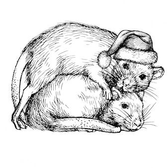 Эскиз двух крыс в шапке санта-клауса. пара крыс. реалистичные чернила выгравированы крысы, мыши. новый 2020 год символ 2020