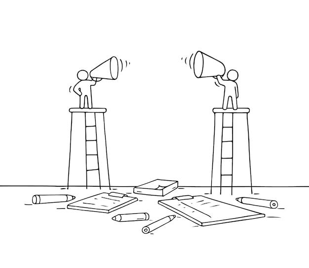 두 명의 스피커 스케치. 확성기와 노동자의 귀여운 미니어처 장면을 낙서. 비즈니스 디자인에 대 한 손으로 그린 만화.