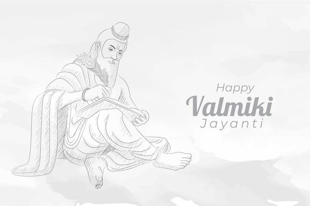 Valmiki jayanti 인사말 카드의 스케치